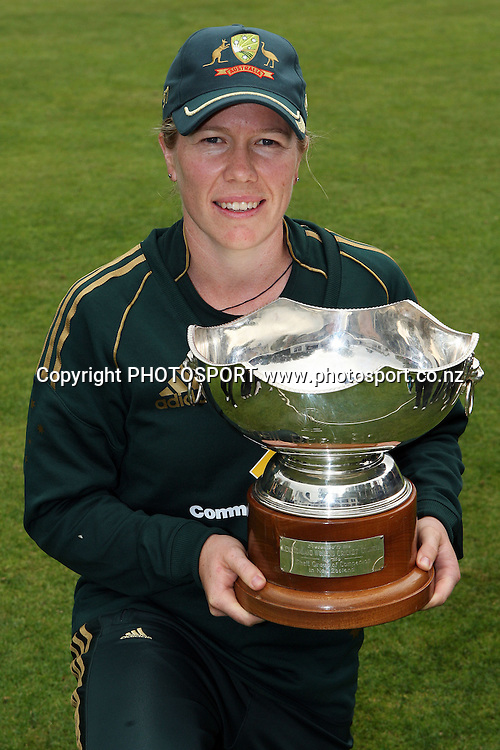 Australian captain Alex Blackwell with the Rosebowl trophy, New Zealand White Ferns v Australia, Rosebowl cricket series, One day international, Queens Park, Invercargill. 7 March 2010. Photo: William Booth/PHOTOSPORT