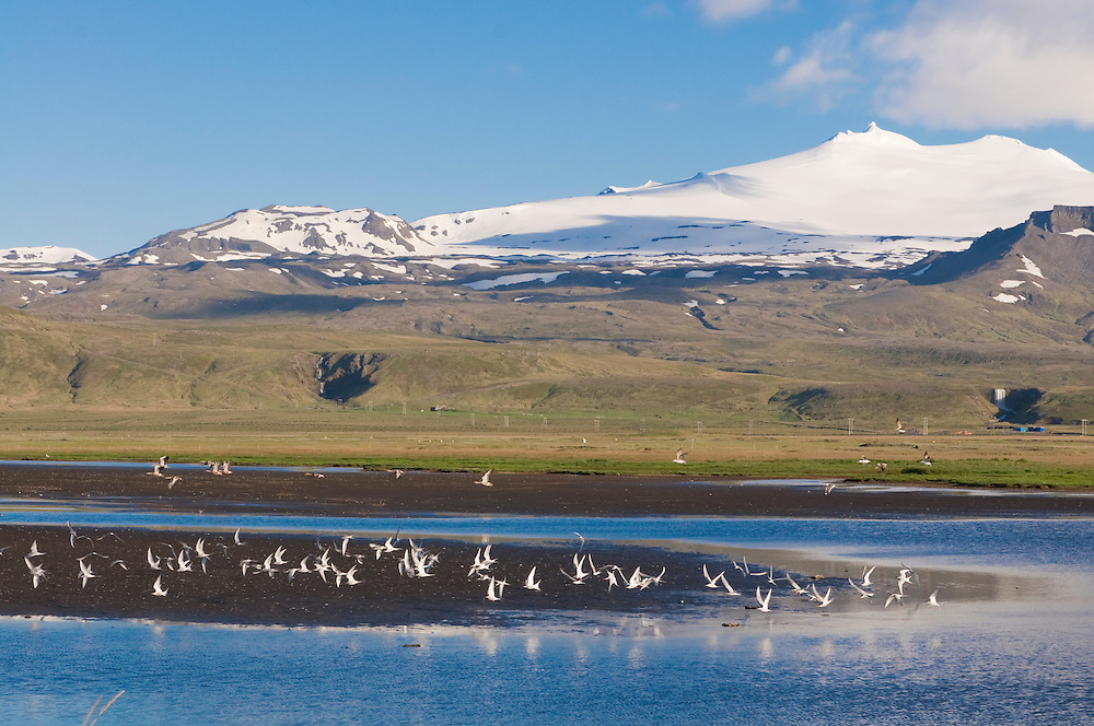 Mountainlandscape with body of water in Snaefellsjökull National Park. Iceland.