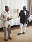 l to r: Javier Evans and Jeff Friday address audience at The ABFF Luncheon Hosted by HSBC and Rush Philanthropic Arts held at The Delano in Miami Beach on June 27, 2009..The American Black Film Festival is an industry retreat and competitve marketplace for films and by and about people of color.