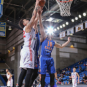 BYU alumni JIMMER FREDETTE (16) and Delaware 87ers Center JORDAN RAILEY (32) battle for the rebound  in the first half of a NBA D-league regular season basketball game between the Delaware 87ers and the Westchester Knicks Tuesday, JAN, 19, 2016 at The Bob Carpenter Sports Convocation Center in Newark, DEL