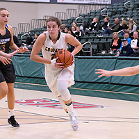 2nd year guard Michaela Kleisinger (2) of the Regina Cougars in action during the Women's Basketball Preseason game on October 6 at Centre for Kinesiology, Health and Sport. Credit: Arthur Ward/Arthur Images