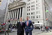 Handelsblatt US Roadshow.<br /> New York Stock Exchange (NYSE) on Wall street.<br /> Philipp Fleischmann, general manager of HGE (right) and Kevin O'Brien, editor in chief of HGE.<br /> Gabor Steingart, CEO of the Handelsblatt Publishing Group is in the US to introduce the english language Handelsblatt Global Edition.