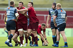 September 30, 2017 - Limerick, Ireland - Peter O'Mahony and Niall Scannell of Munster attacking Matthew Rees of Cardiff during the Guinness PRO14 Conference A Round 5 match between Munster Rugby and Cardiff Blues at Thomond Park in Limerick, Ireland on September 30, 2017  (Credit Image: © Andrew Surma/NurPhoto via ZUMA Press)
