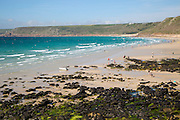Coastal scenery sandy beach, Sennan Cove, Land's End, Cornwall, England, UK