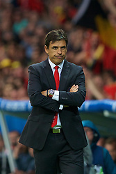 LILLE, FRANCE - Friday, July 1, 2016: Wales manager Chris Coleman looks pensive during the UEFA Euro 2016 Championship Quarter-Final match against Belgium at the Stade Pierre Mauroy. (Pic by Paul Greenwood/Propaganda)
