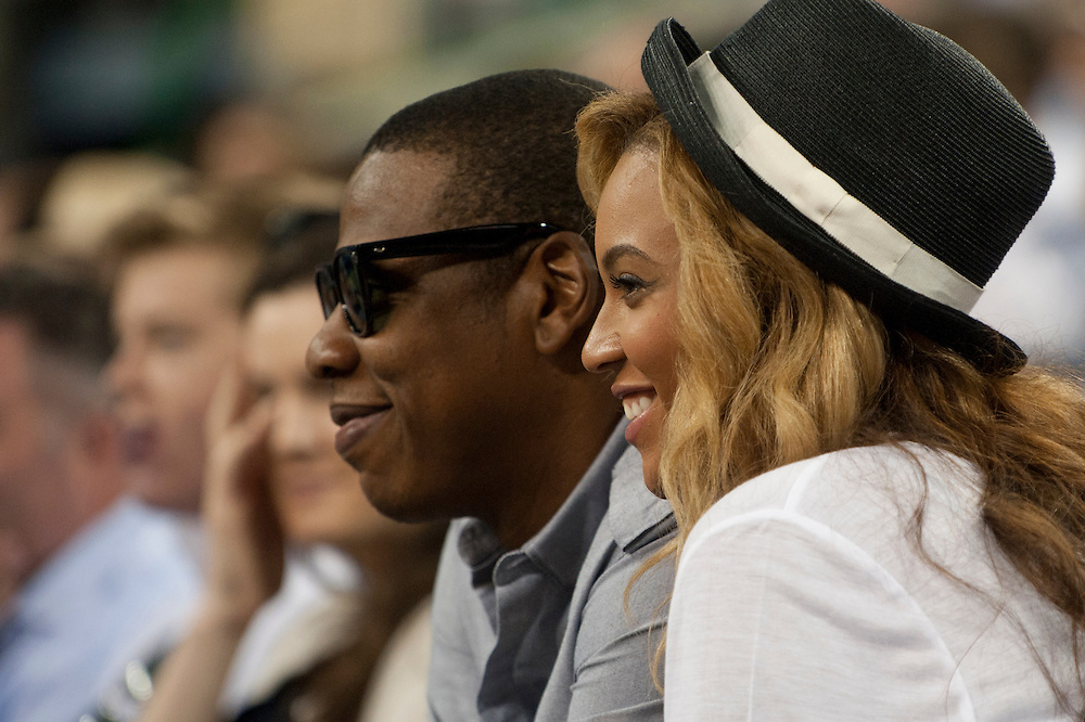 NEW YORK, NY - SEPTEMBER 12:  Recording artists Jay-Z and Beyonce watch Rafael Nadal of Spain and Novak Djokovic of Serbia play during the Men's Final on Day Fifteen of the 2011 US Open at the USTA Billie Jean King National Tennis Center on September 12, 2011 in the Flushing neighborhood of the Queens borough of New York City. (Photo by Rob Tringali) *** Local Caption ***  Jay-Z;Beyonce