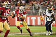 San Francisco 49ers quarterback Blaine Gabbert (2) carries the ball against the Los Angeles Rams at Levi's Stadium in Santa Clara, Calif., on September 12, 2016. (Stan Olszewski/Special to S.F. Examiner)
