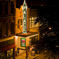 The Palace Theatre at night in Manchester, New Hampshire.