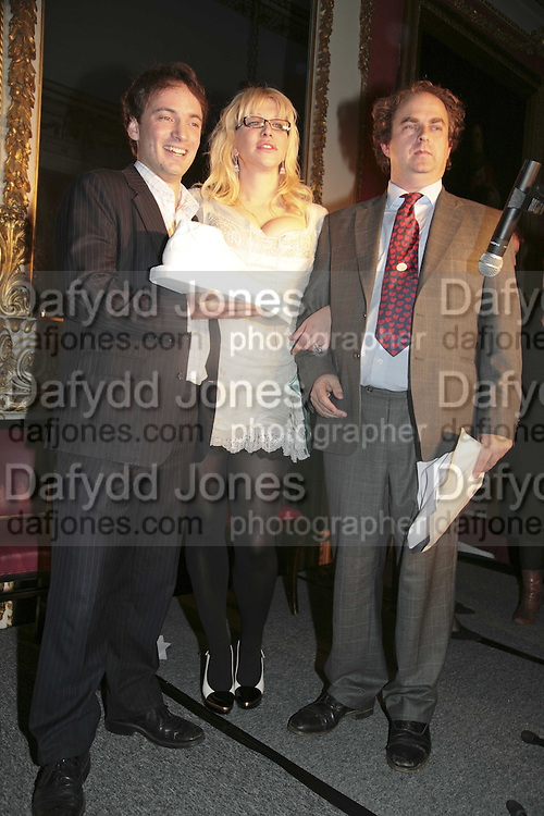 THE WINNER OF THE PRIZE: IAIN HOLLINGSHEAD (FOR PASSAGES IN  HIS BOOK TWENTY SOMETHING) COURTNEY LOVE AND ALEXANDER WAUGH. Literary Review's Bad Sex In Fiction Prize.  In &amp; Out Club (The Naval &amp; Military Club), 4 St James's Square, London, SW1, 29 November 2006. <br />