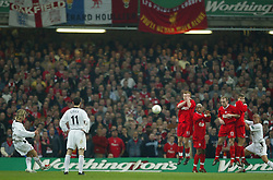 CARDIFF, WALES - Sunday, March 2, 2003: Liverpool players defend a free-kick from Manchester United's David Beckham during the Football League Cup Final at the Millennium Stadium. (Pic by David Rawcliffe/Propaganda)