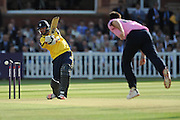 James Vince is bowled by South African Kyle Abott during the NatWest T20 Blast South Group match between Middlesex County Cricket Club and Hampshire County Cricket Club at Lord's Cricket Ground, St John's Wood, United Kingdom on 18 June 2015. Photo by David Vokes.