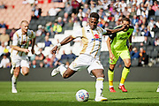 MKDons forward Kieran Agard (14) misses this penalty during the EFL Sky Bet League 2 match between Milton Keynes Dons and Exeter City at stadium:mk, Milton Keynes, England on 25 August 2018.