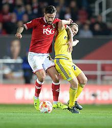 Marlon Pack of Bristol City battles for the ball with  David Vaughan of Nottingham Forest - Mandatory byline: Alex James/JMP - 07966 386802 - 16/10/2015 - FOOTBALL - Ashton Gate - Bristol, England - Bristol City v Nottingham Forest - Sky Bet Championship