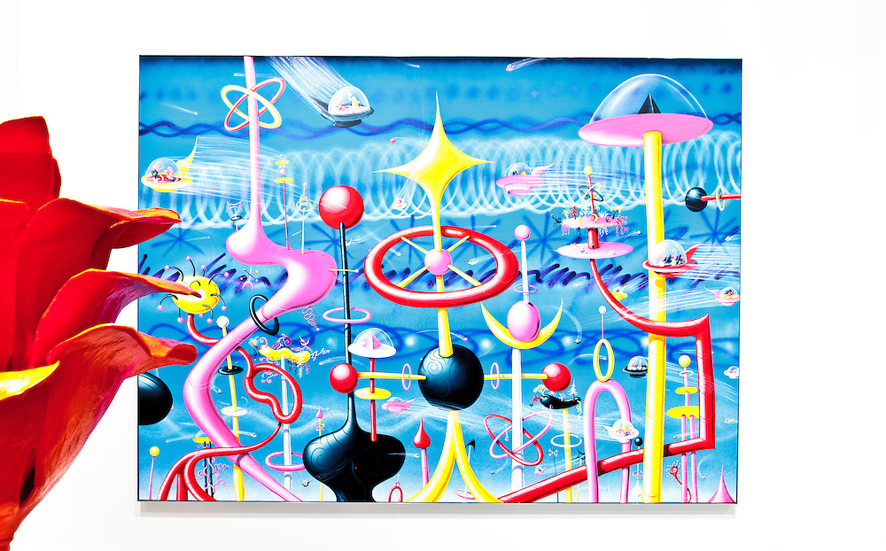 Painting by Kenny Scharf, asking price $225,000.<br /> <br /> And the painted aluminum rose is by Will Ryman, both at the Paul Kasmin Gallery booth