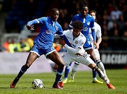 Ousmane Fane of Oldham Athletic and Derik Osede of Bolton Wanderers - Mandatory by-line: Matt McNulty/JMP - 15/04/2017 - FOOTBALL - Boundary Park - Oldham, England - Oldham Athletic v Bolton Wanderers - Sky Bet League 1