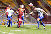 Bury midfielder Danny Mayor gets a header on goal during the The FA Cup match between Bradford City and Bury at the Coral Windows Stadium, Bradford, England on 19 January 2016. Photo by Simon Davies.