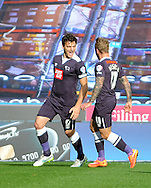 Chris Martin (left) of Derby County celebratres his goal during the Sky Bet Championship match at the John Smiths Stadium, Huddersfield<br /> Picture by Graham Crowther/Focus Images Ltd +44 7763 140036<br /> 24/10/2015