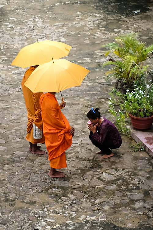 Siem Reap, Cambodia. Buddhist monks leave the temple early in the morning and walk the streets for alms-giving. People stop them to give gifts or food. The monks give a blessing in return.  <br /> Photo by Lorenz Berna