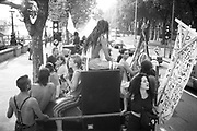 Ravers on top of vans at the 2nd Criminal Justice March, Victoria, London, UK, 23rd of July 1994.