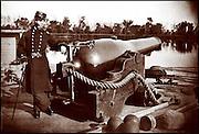 "Civil War gunboat ""Hunchback on the James River, Virginia Photo by Brady"