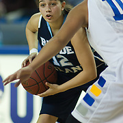 Rhode Island Ashely Rivera #12 looking for a open teammate in the second half of a week one NCAA Women's College basketball game, Friday, Nov. 11, 2011 at the Bob carpenter center in Newark Delaware...Delaware would go on to defeat the Rhode Island rams 65-53...Special to The News Journal/SAQUAN STIMPSON