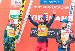 25.03.2018, Planica, Ratece, SLO, FIS Weltcup Ski Sprung, Planica, Siegerehrung, im Bild Richard Freitag (GER, 2. Platz), Gesamtweltcupsieger Kamil Stoch (POL), Daniel Andre Tande (NOR, 3. Platz) // 2nd placed Richard Freitag of Germany Overall Worldcup Winner Kamil Stoch of Poland 3rd placed Daniel Andre Tande of Norway during the Winner Award Ceremony of the FIS Ski Jumping World Cup Final 2018 at Planica in Ratece, Slovenia on 2018/03/25. EXPA Pictures © 2018, PhotoCredit: EXPA/ JFK