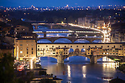 Arno River at Twilight, a view from the Piazzele Michelangelo, Florence, Italy