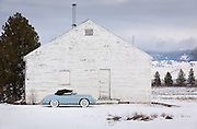 Car Photography from Automotive Photographer Randy Wells, Image of a 1958 Porsche 356 Speedster in the snow in Missoula, Montana, Pacific Northwest, property released