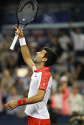 SHANGHAI, Oct. 9, 2018  Serbia's Novak Djokovic celebrates after winning the men's singles second round match against France's Jeremy Chardy at the Shanghai Masters tennis tournament on Oct. 9, 2018. Novak Djokovic won 2-0. (Credit Image: © Ding Ting/Xinhua via ZUMA Wire)