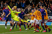 Mark Gillespie of Motherwell comes a long way for a cross and misses the punch  during the Ladbrokes Scottish Premiership match between Motherwell and Heart of Midlothian at Fir Park, Motherwell, Scotland on 17 February 2019.