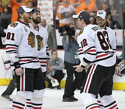 June 9, 2010; Philiadelphia, PA; USA;  Chicago Blackhawks right wing Marian Hossa (81) and Chicago Blackhawks right wing Tomas Kopecky (82) celebrate after the Blackhawks defeated the Flyers 4-3 in Game 6 of the Stanley Cup Finals at the Wachovia Center.