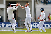 England & Durham All-rounder Ben Stokes  celebrates the wicket of Sri Lanka wicket keeper Dinesh Chandimal  during day 2 of the first Investec Test Series 2016 match between England and Sri Lanka at Headingley Stadium, Headingley, United Kingdom on 20 May 2016. Photo by Simon Davies.