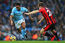 Raheem Sterling of Manchester City takes on Ryan Fraser of Bournemouth - Mandatory by-line: Matt McNulty/JMP - 23/12/2017 - FOOTBALL - Etihad Stadium - Manchester, England - Manchester City v Bournemouth - Premier League