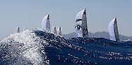 The TP52 fleet sail downwing during Race 2 of the AUDI Medcup in Cartagena