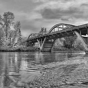 Caveman Bridge - Rogue River View - Grants Pass, Oregon - HDR - Black & White