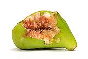 half eaten fig against a white background