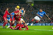 Alfredo Morelos (#20) of Rangers FC heads at goal during the Ladbrokes Scottish Premiership match between Rangers and Aberdeen at Ibrox, Glasgow, Scotland on 5 December 2018.