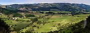 Panoramic view of the Takaka Valley, taken from Highway 60 near Eureka Bend, Tasman, New Zealand.