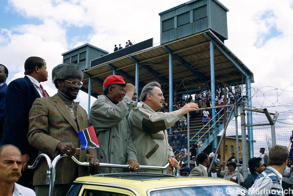 Nelson Mandela with Mangosuthu Buthelezi and Pik Botha, Soweto,1994