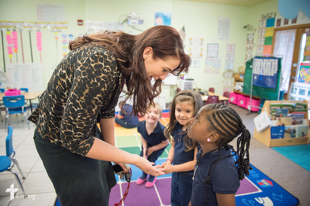Principal Tiffany Venegas greets students at the Renaissance School, part of Lutheran Urban Mission Initiative, Inc., on Wednesday, May 20, 2015, in Mt. Pleasant, Wis. LCMS Communications/Erik M. Lunsford