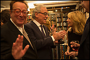 MAURICE SAATCHI; SIR EVELYN DE ROTHSCHILD; VICKY WARD, Book party for 'The Liar's Ball' by Vicky Ward hosted by  Sir Evelyn  de Rothschild at Henry Sotheran's, 2 Sackville Street London. 25 November 2014