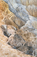 Travertine deposits colored by thermophilic bacteria, Mammtoth Hot Springs, Yellowstone National Park