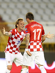 12.06.2015, Stadion Poljud, Split, CRO, UEFA Euro 2016 Qualifikation, Kroatien vs Italien, Gruppe H, im Bild Ivan Rakitic, Mario Mandzukic // during the UEFA EURO 2016 qualifier group H match between Croatia and and Italy at the Stadion Poljud in Split, Croatia on 2015/06/12. EXPA Pictures © 2015, PhotoCredit: EXPA/ Pixsell/ Slavko Midzor<br /> <br /> *****ATTENTION - for AUT, SLO, SUI, SWE, ITA, FRA only*****