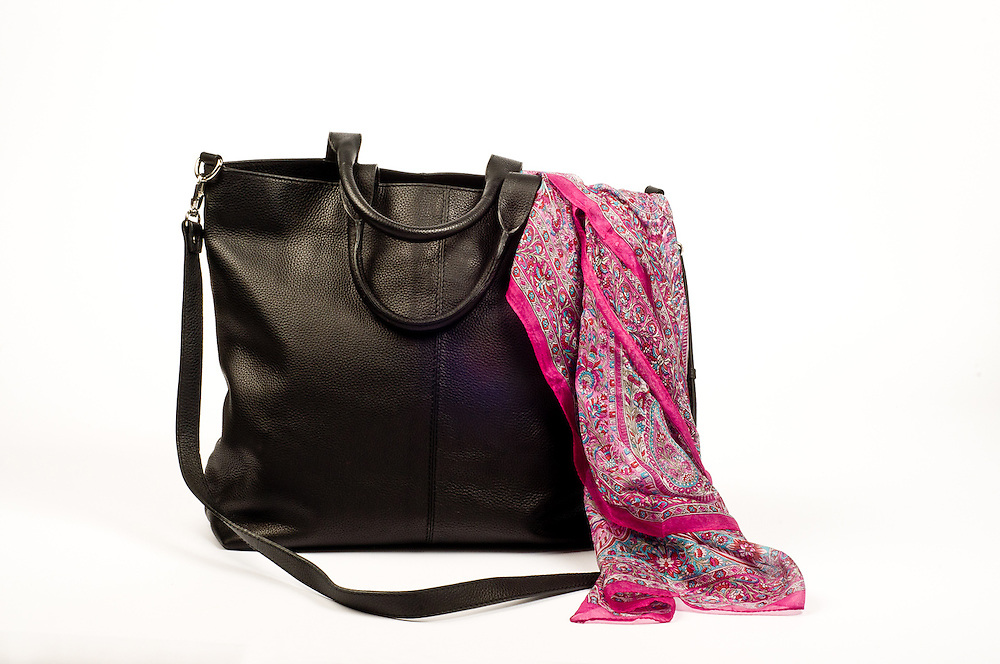 Black leather purse  and pink printed scarf for Filling Spaces