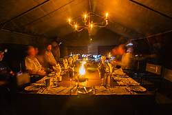 Camp at night in the Moremi Game Reserve, Botswana