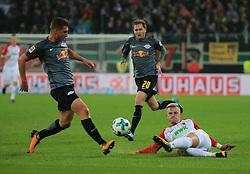 20170919, 1.BL. FCA vs RB Leipzig, 1.Bundesliga, WWK Arena Augsburg, Fussball, Sport, im Bild:...Willi Orban (RB Leipzig) vs Philipp Max (FC Augsburg) undBenno Schmitz (RB Leipzig) ..*Copyright by:  Philippe Ruiz..Postbank Muenchen.IBAN: DE91 7001 0080 0622 5428 08..Oberbrunner Strasse 2.81475 MŸnchen, .Tel: 089 745 82 22, .Mobil: 0177 29 39 408..( MAIL:  philippe_ruiz@gmx.de ) ..Homepage: www.sportpressefoto-ruiz.de. (Credit Image: © Philippe Ruiz/Xinhua via ZUMA Wire)