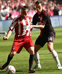 17.04.2011, Allianz Arena, Muenchen, GER, 1.FBL, FC Bayern Muenchen vs Bayer 04 Leverkusen, im Bild  Franck Ribery (Bayern #7)  im kampf mit Hanno Balitsch (Leverkusen #14)  , EXPA Pictures © 2011, PhotoCredit: EXPA/ nph/  Straubmeier       ****** out of GER / SWE / CRO  / BEL ******