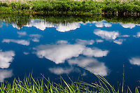 Norway, Rogaland, Grudevatn. Cloud reflections in water.