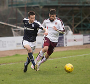 Dundee&rsquo;s Cammy Kerr goes Hearts&rsquo; Juanma Delgado - Dundee v Hearts - Ladbrokes Premiership at Dens Park <br />  - &copy; David Young - www.davidyoungphoto.co.uk - email: davidyoungphoto@gmail.com