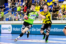 27.04.2018, BSFZ Suedstadt, Maria Enzersdorf, AUT, HLA, SG INSIGNIS Handball WESTWIEN vs Bregenz Handball, Viertelfinale, 1. Runde, im Bild Philipp Seitz (SG INSIGNIS Handball WESTWIEN), Marian Klopcic (Bregenz Handball) // during Handball League Austria, quarterfinal, 1 st round match between SG INSIGNIS Handball WESTWIEN and Bregenz Handball at the BSFZ Suedstadt, Maria Enzersdorf, Austria on 2018/04/27, EXPA Pictures © 2018, PhotoCredit: EXPA/ Sebastian Pucher